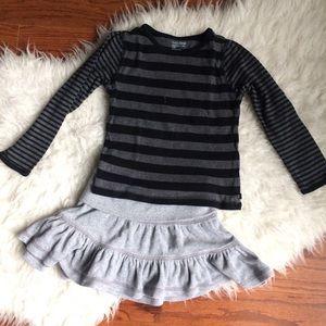 Gap Knit Stripe Sweater Velour Skirt size 5